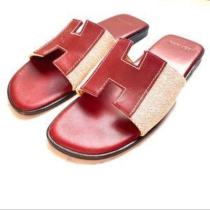 Hermès leather canvas burgundy sandals